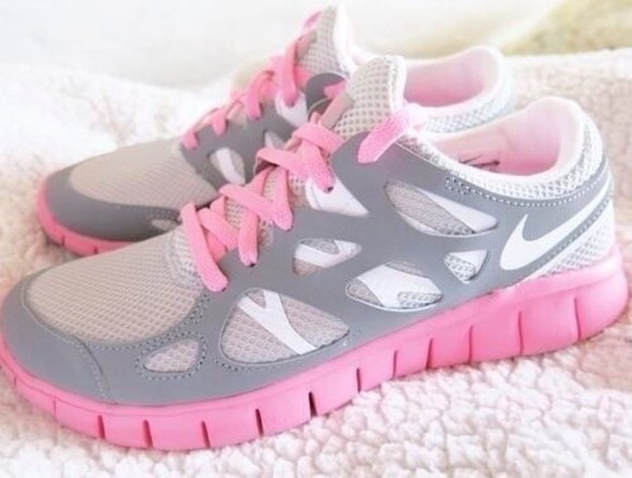 shoes nike sport white nike running shoes nike free run pink grey cute