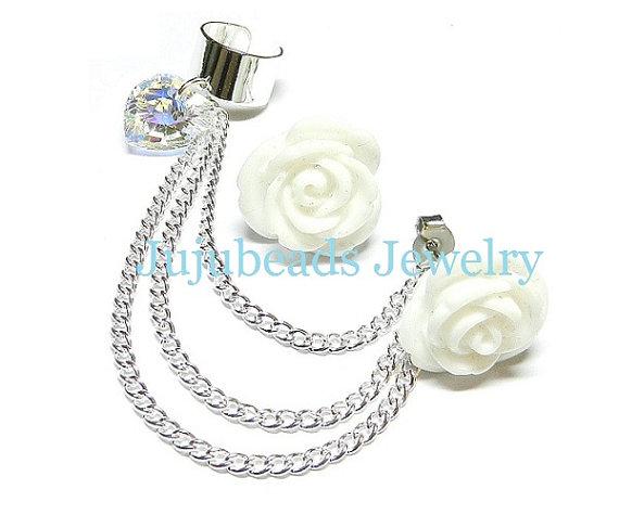 White rose swarovski chain ear cuff by jujubeadsjewelry1 on etsy