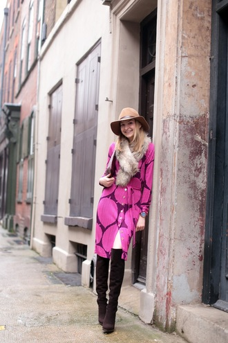 cocos tea party blogger hat scarf 70s style purple dress thigh high boots dress shoes bag