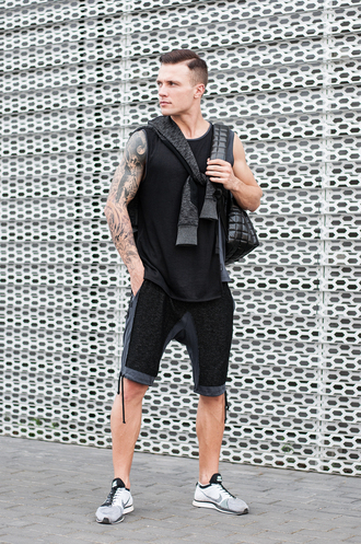 t-shirt long sleeves olive green black shorts skirt grey sweater lookbook menswear mens sweater long skirt khaki tattoo urban urban outfitters streetwear streetstyle stripes zip zipped skirt tank top mens t-shirt backpack hoodie outfit idea summer fall outfits