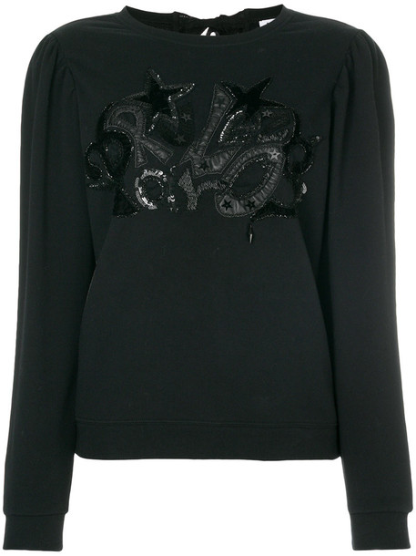 sweatshirt women embellished cotton black sweater