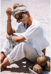pants,white,tan,striped pants,harem pants,white t-shirt,sabo skirt,cotton,style,model,beach style,chilled,bohemian,sunglasses,turban wrap,shirt,boho,beach,cozy cute,comfy pants,grey,loose,headband,stripes,loose baggy pants,oversized,wide-leg pants,rolledup,trouser,baggy pants,leggings,creme,long,sun,summer,summer outfits,round sunglasses,oversized sunglasses,purple,black,black and purple sunglasses,gold,gold frame,hair accessory,linen head scarf striped white and grey,white and grey striped linen pants