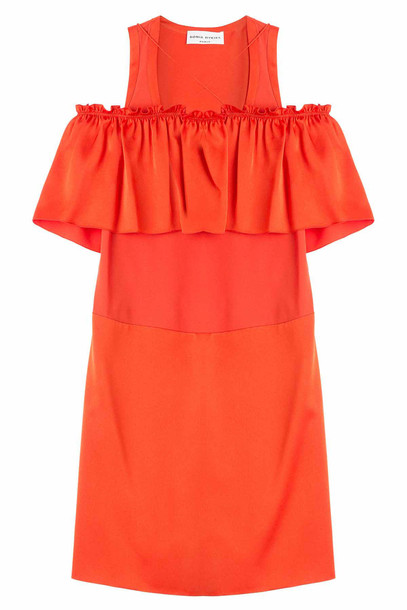Sonia Rykiel Dress with Ruffled Bardot Neckline  in red