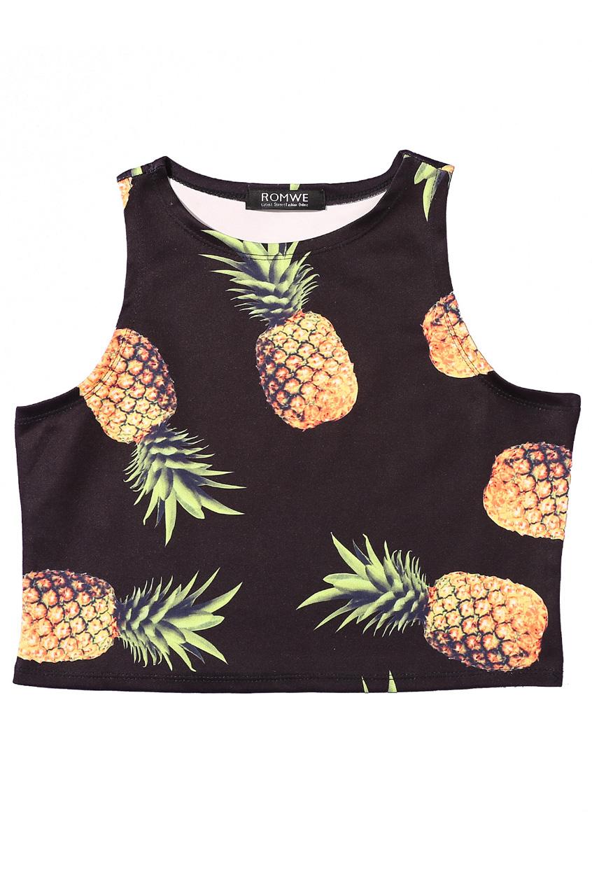 ROMWE | ROMWE Pineapple Print cropped Black Vest, The Latest Street Fashion
