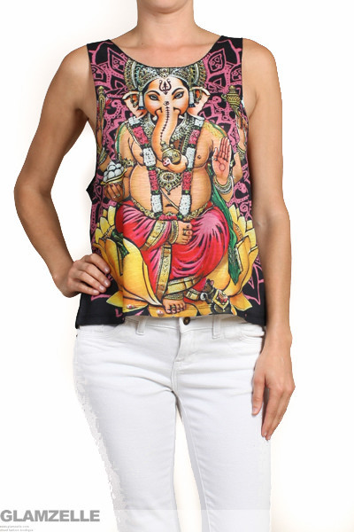 "Namaste ""lord of success"" ganesha print tank top – glamzelle"