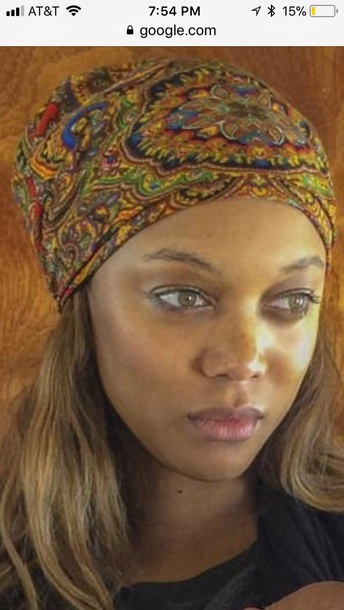 hat tyra banks peacock pattern hippie headband
