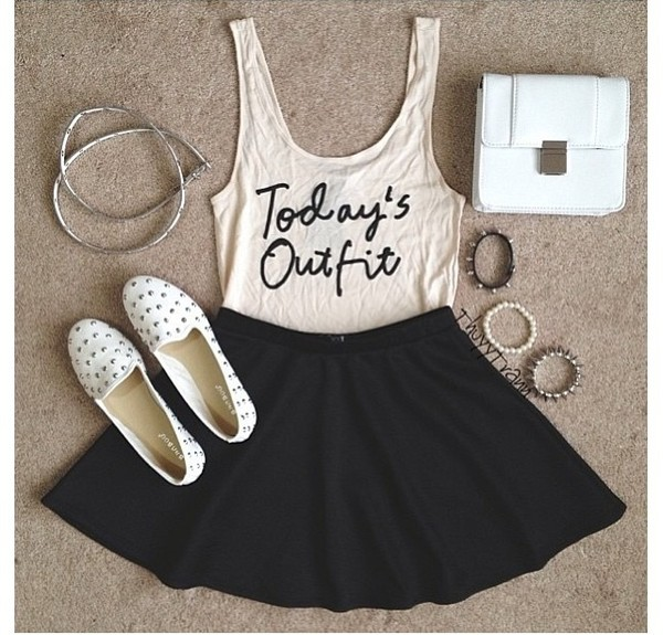 shirt studs tank top headband white shoes black skater skirt white tank top bracelets white purse shoes skirt skate skirt circle skirt black blouse bag t-shirt jewels vest cream cool today's outfit outfit ideas idea outfit flats white girl girly hip trendy trendy hipster cute nice pretty pearl accessories black skirt quote on it top todays outfit' todays outfit brand