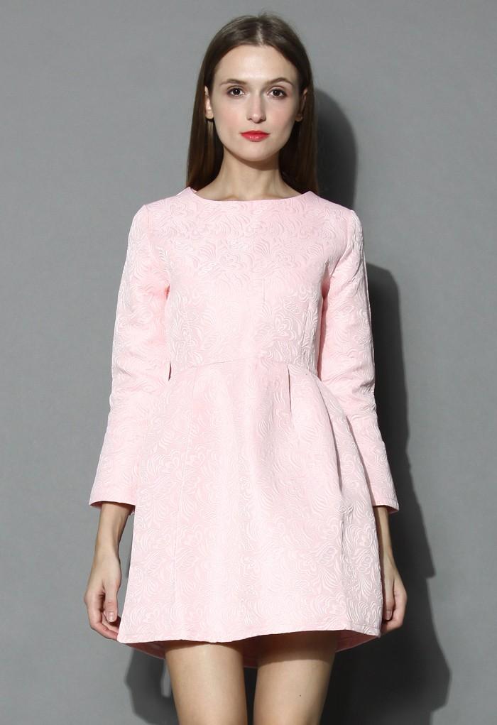 Candy pink floral jacquard dress