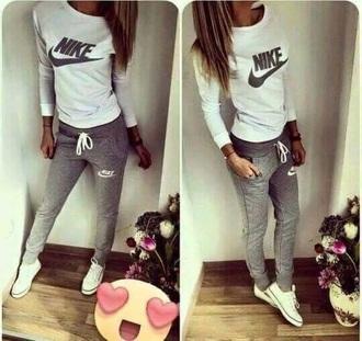 jumpsuit nike tracksuit white sweater grey sweatpants