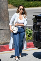 bag,jessica alba,streetstyle,fall outfits,celebrity,denim,jeans