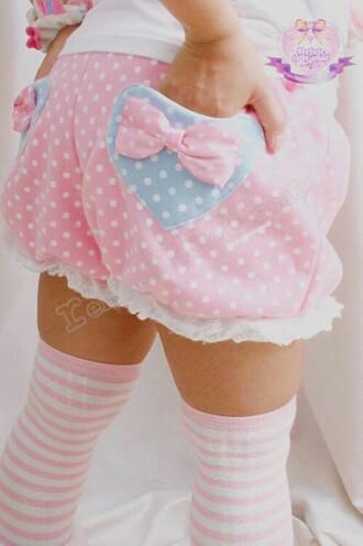shorts japanese fashion harajuku kawaii pastel polka dots