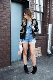 the whiskey wolf,blogger,top,denim shirt,denim shorts,embroidered,embroidered jacket,peep toe boots,spring outfits