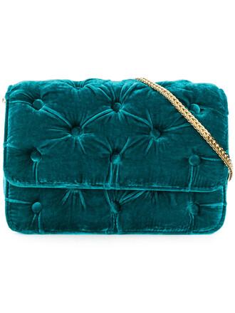 women bag shoulder bag blue velvet