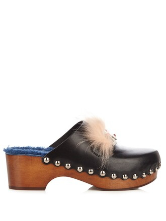 clogs fur eyes leather black shoes