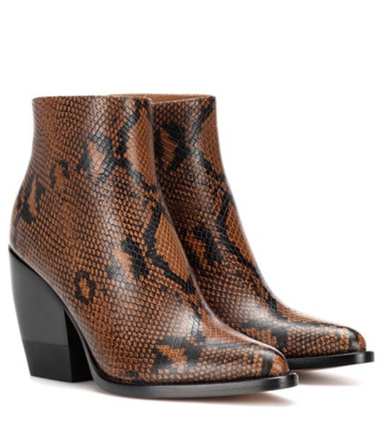 Chloé Snake-embossed ankle boots in brown