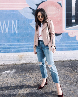 jacket tumblr pink jacket leather jacket denim jeans blue jeans ripped jeans pumps sunglasses