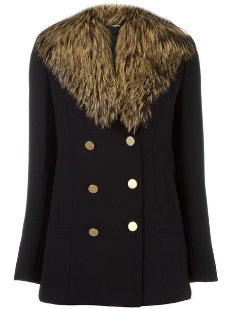 theory fur fox women gold blue wool coat