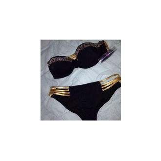 swimwear black gold strappy bikini strapless bikini top victoria's secret pink swimwear sequins elegant glitter crop tops summer model belly piercing soft two-piece triangl cute sassy miami california designer coture michael kors little clothes girl jumpsuit