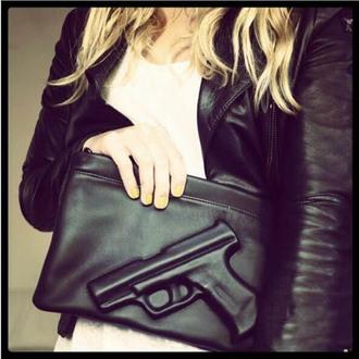 bag vlieger & vandam gun emobossed message bag day crushed shoulder bag