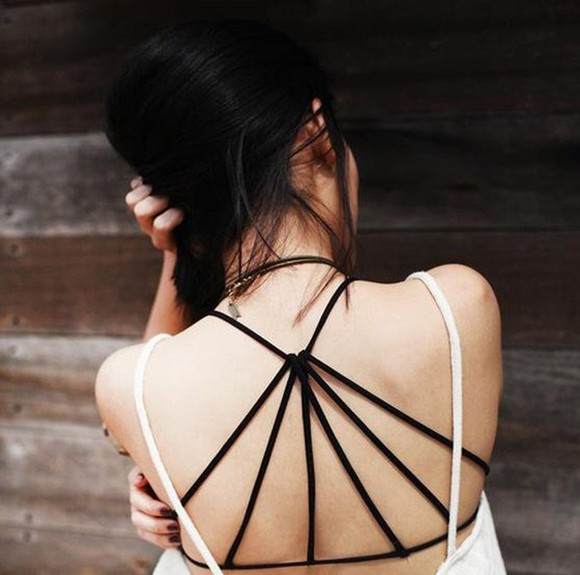 bandeau top bralette triangle cut-out strappy Crop tops black top backless top Tank