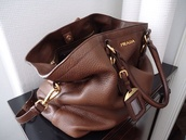bag,brown leather bag,prada