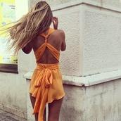 backless,romper,summer outfits,summer,bow,draped,rust,orange,criss cross,criss cross back,yellow,yellw romper,dress,yellow  v -neck  strap  cross  ruffles  party  dress,beach