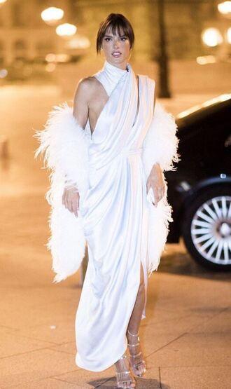 dress fashion week 2017 white white dress gown prom dress sandals alessandra ambrosio fur coat fashion week