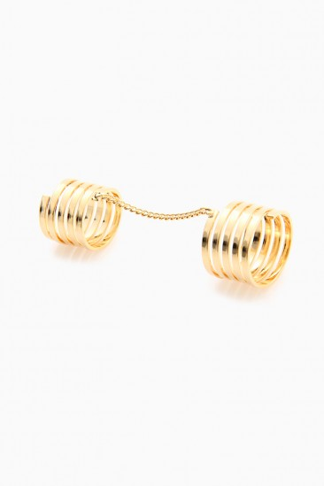 OMG Two Finger Link Ring - Gold