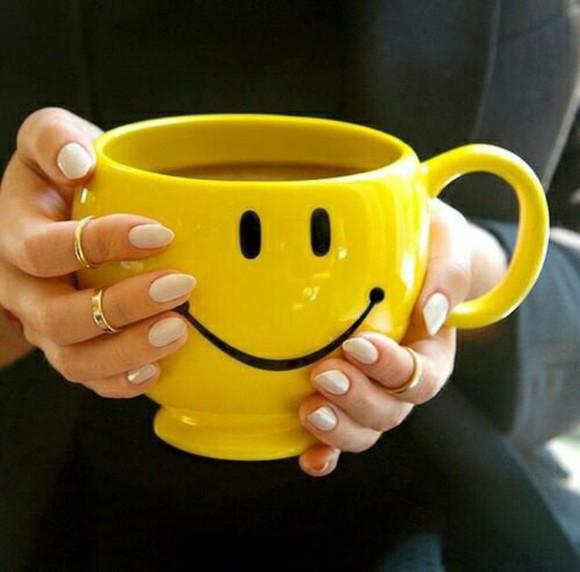 smiley yellow mug