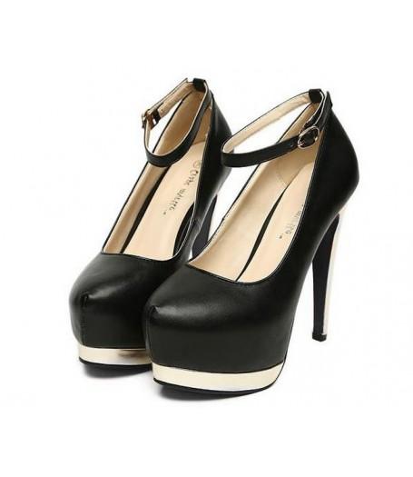 Black Leather Metallic High Heel Platform Court Shoes