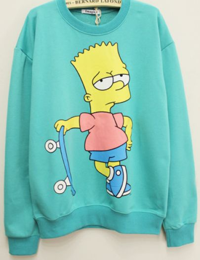 Green Long Sleeve Simpson Pattern Sweatshirt