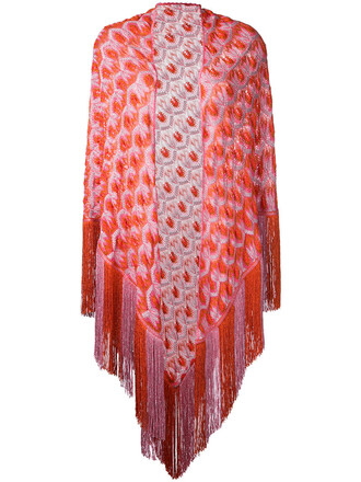 cape tassel women red top