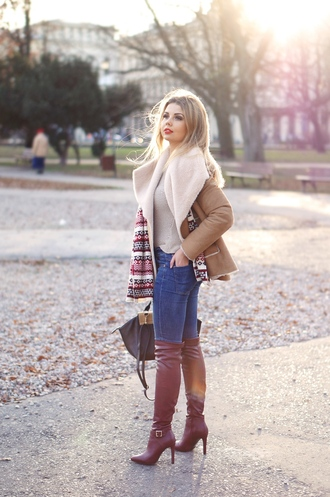 a piece of anna blogger skinny jeans leather boots shearling jacket brown shearling jacket burgundy boots over the knee boots blue jeans denim jeans knitted scarf scarf bag winter outfits winter coat