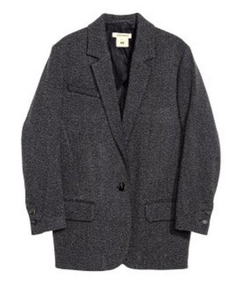 clothes laine coat isabel marant isabel marant h&m collection isabel marant pour h&m isabel marant h&m gris blazer oversize hiver manteau grey oversize jacket