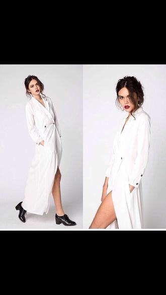 dress white chic long sleeves long dress maxi dress long sleeve dress