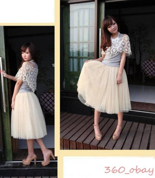 Summer fashion princess fairy style 5 layers tulle dress bouffant tutu skirt 763