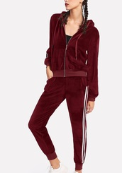 jumpsuit,girly,red,velvet,joggers,tracksuit,joggers pants,two-piece