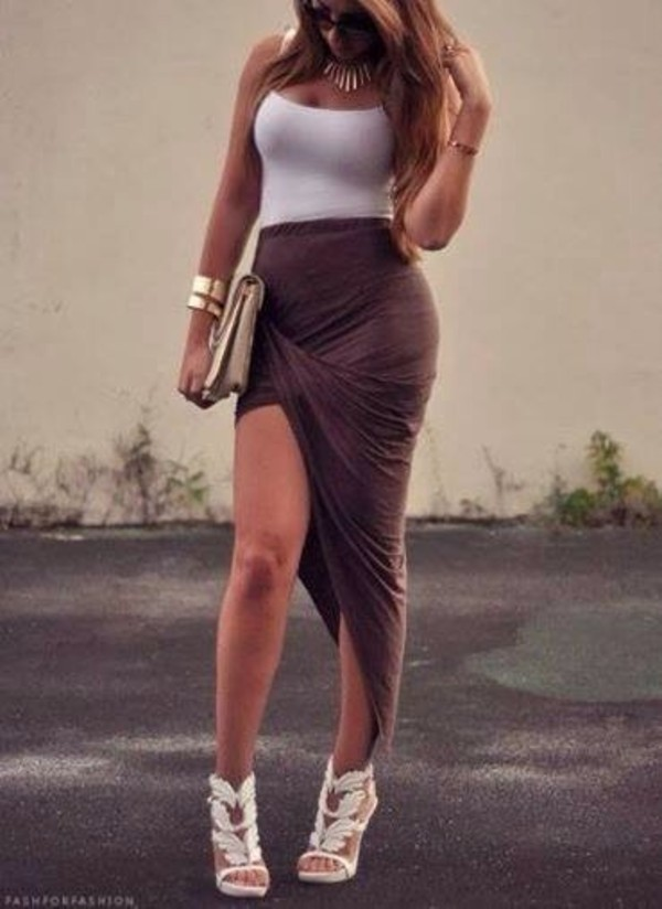 shoes skirt white crop tops