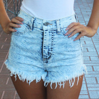 Natural Waist Acid Denim Shorts · Entrada Couture · Online Store Powered by Storenvy