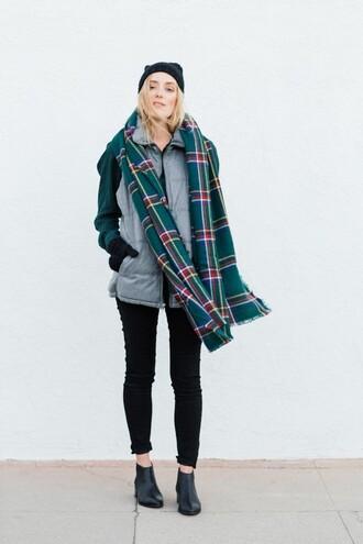 eat sleep wear blogger tartan scarf blanket scarf down jacket
