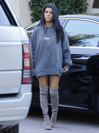shoes kourtney kardashian knee high boots grey boots suede boots