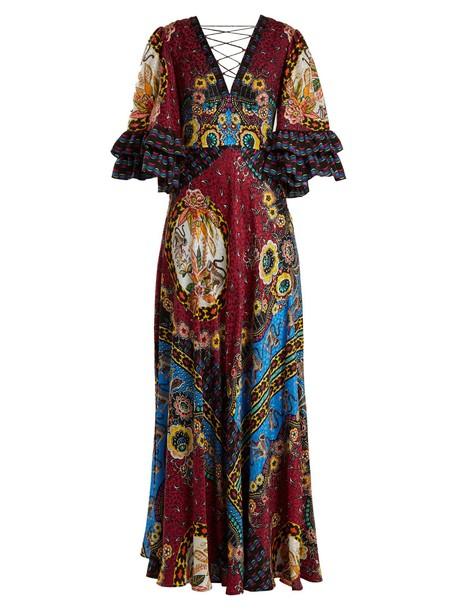 ETRO gown print silk satin pink dress