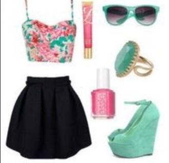 shorts pink skirt pink shirts shirt nail polish hair accessory make-up