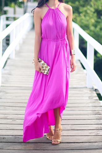 dress sandals high heel sandals gold sandals maxi dress pink dress greek goddess bag chevron cuff bracelet bracelets wedding guest dress summer dress summer outfits purple dress