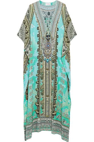 embellished silk turquoise top