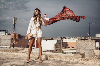 angelica blick blogger printed scarf white shorts summer