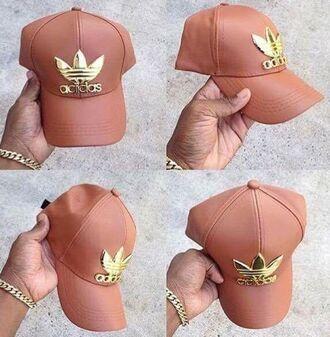 hat adidas nude naked gold cap lether leather style stylish fashion