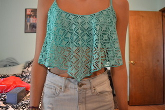 tank top cute lace summer shirt top blouse crop tops crochet mint blue green clothea coothes turquoise vest straps cropped