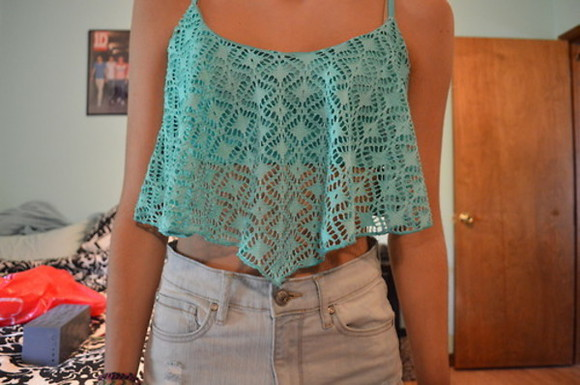 blouse blue cropped turquoise vest straps tank top cute lacey summer shirt top crop tops lace crochet mint green clothea coothes