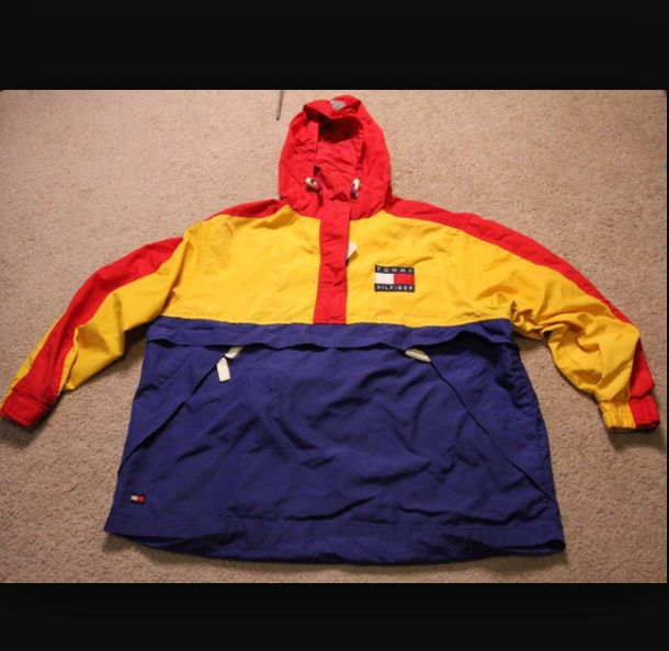 jacket coat style sweater sweatshirt windbreaker tommy hilfiger vintage top red yellow blue